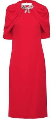 Reem Acra Cape-effect Open-back Embellished Cady Dress