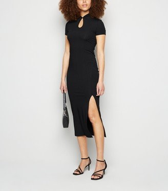 New Look Ribbed Keyhole Front Midi Dress