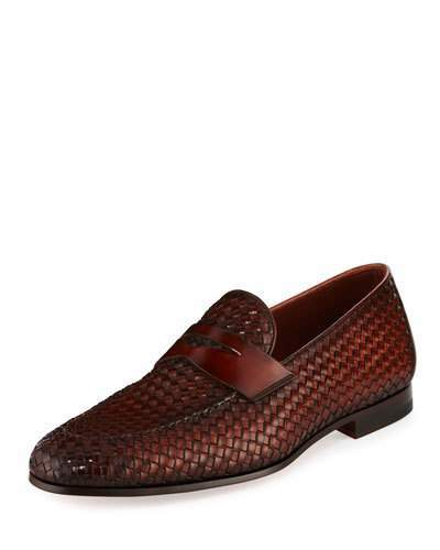 Magnanni Woven Leather Penny Loafer, Brown