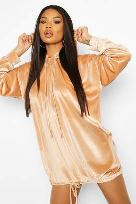 boohoo Velour Sweat Hooded Dress