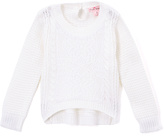 Pink Angel Off-White Floral Lace Sweater - Girls