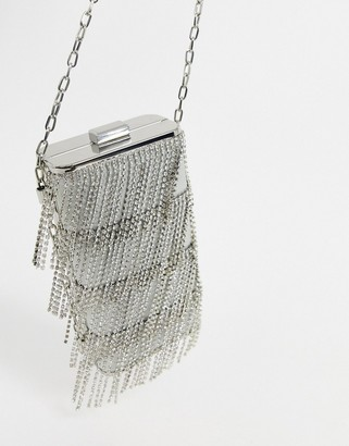 Forever New diamante chain side bag in silver