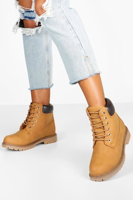 boohoo Wide Fit Chunky Hiker Boots