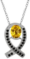 Gem Stone King 1.69 Ct Oval Checkerboard Yellow Citrine Black Diamond Sterling Silver Pendant