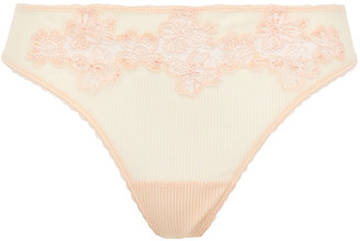 La Perla English Rose Embroidered Stretch-tulle Low-rise Thong