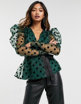 Forever U dobby spot puff-sleeved blouse with contrast waist tie in emerald green