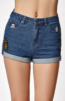 Obey Smoke 'Em Patched Cuffed Denim Shorts