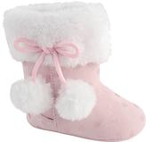 Baby Deer Pink & White Dot Faux Fur-Accent Pom-Pom Slipper Boot