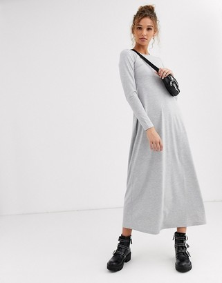 ASOS DESIGN long sleeve maxi t-shirt dress in grey