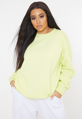 Missguided Plus Size Lime Basic Sweatshirt