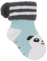 bonniemob Baby Bootie Panda Socks, Light Blue