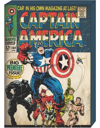 Marvel Captain America Retro Comic Book Cover MDF Box Art