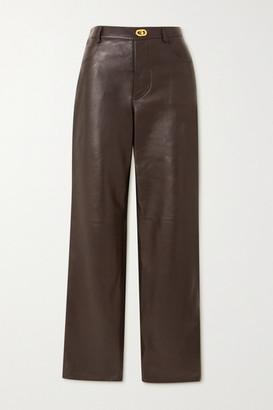 Bottega Veneta Leather Straight-leg Pants - Brown
