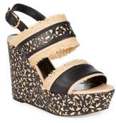 Oscar de la Renta Talitha Floral Embossed Wedge Sandals