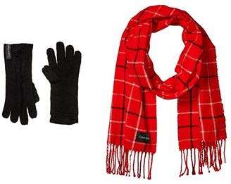 Calvin Klein Plaid Woven Scarf and Gloves Set (Rouge) Scarves