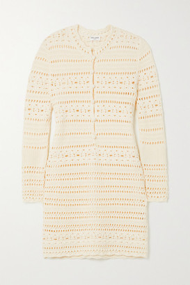 Saint Laurent Crocheted Cotton Mini Dress - White