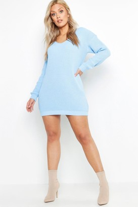 boohoo Plus V Neck Sweater Mini Dress