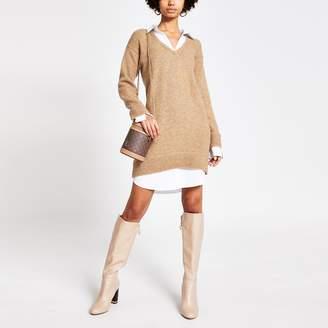 River Island Womens Brown knitted long sleeve jumper shirt dress
