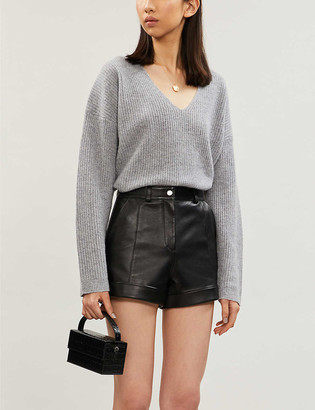 Maje Ilord slim-fit high-rise leather shorts