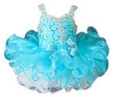 Leho Little Girls' Cupcakes Bow Crystals Short Toddler Birthday Dresses 2/ US