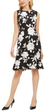 Kasper Floral-Print Sleeveless Crepe Ruffle-Hem Dress
