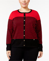 Karen Scott Plus Size Striped Cardigan, Only at Macy's