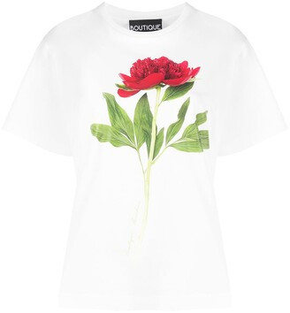 Boutique Moschino Photographic-Floral Cotton T-Shirt