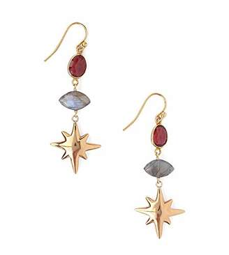 Chan Luu Red and Grey Mineral Stone with Starburst Goldtone Dangle Hook Earrings