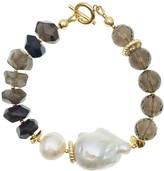 Farra Baroque Pearl With Black Tiger Eye Stones And Smoky Quartz Bracelet