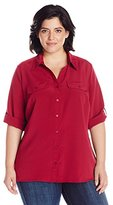 NY Collection Women's plus-size Plus-size Elbow Sleeve Ruffle Tie Neck Solid Blouse