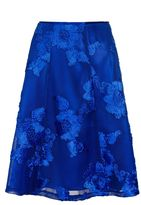 Quiz Royal Blue Mesh Applique Flare Midi Skirt