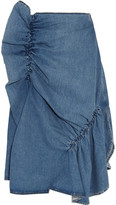 J.W.Anderson Asymmetric Ruffled Denim Midi Skirt - Light denim