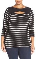 Vince Camuto Plus Size Women's 'Quarry Stripe' Cutout Detail Knit Top