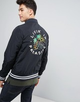 Hollister Souvenir Nylon Bomber With Back Embroidery In Black
