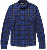 Amiri Distressed Checked Cotton And Cashmere-Blend Flannel Shirt