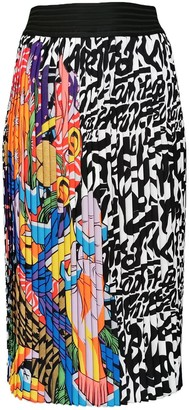 Lalipop Design Colorful Abstract Print Pleated Midi Skirt