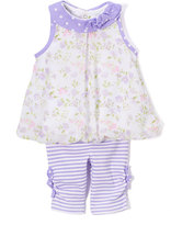Baby Essentials Purple Floral Swing Top & Stripe Pants