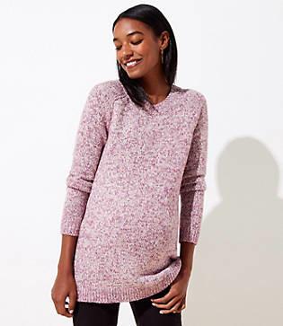 LOFT Maternity Marled Hi-Lo Hem Sweater