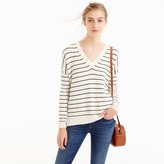 J.Crew Striped V-neck sweater in merino wool-cotton