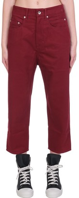 Drkshdw Collapse Cut Jeans In Bordeaux Cotton