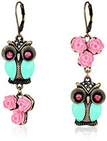 Betsey Johnson Women's Pet Shop Vintage Owl Non-Matching Earrings Blue/Pink Drop Earrings