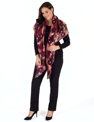 Chesca Soft Floral Print Blanket Scarf, Cranberry