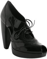 black patent leather peep-toe booties