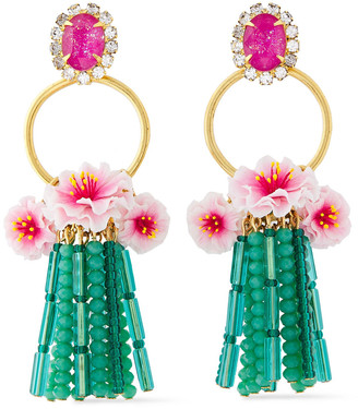 Elizabeth Cole 24-karat Gold-plated Resin, Crystal And Bead Earrings