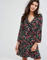 MANGO Floral Wrap Front Tea Dress
