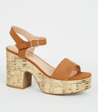 New Look Suedette Cork Platform Sandals