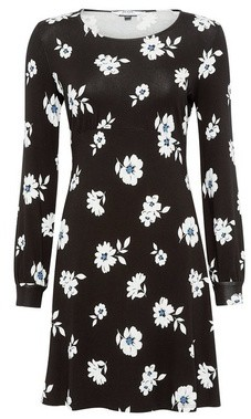 Dorothy Perkins Womens Petite Black Daisy Print Fit And Flare Dress, Black