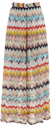 Missoni Mare Chevron-stripe Wide-leg Eyelet-knitted Trousers - Multi