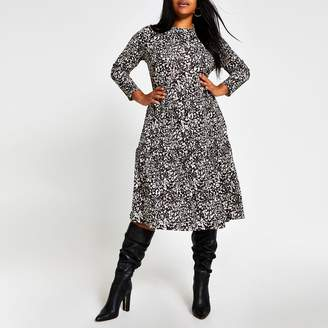 River Island Womens Plus Beige leopard print midi smock dress