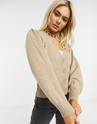 ASOS DESIGN v neck cardigan with puff sleeve in taupe